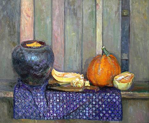 Still Life with a Pumpkin still life - oil painting