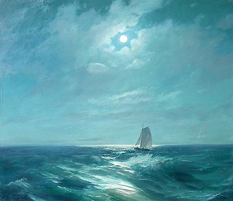 Moonlit Night seascape - oil painting