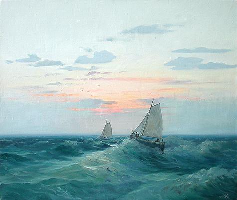 Волна морской пейзаж - масло живопись