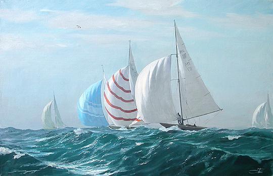 Regatta seascape - oil painting