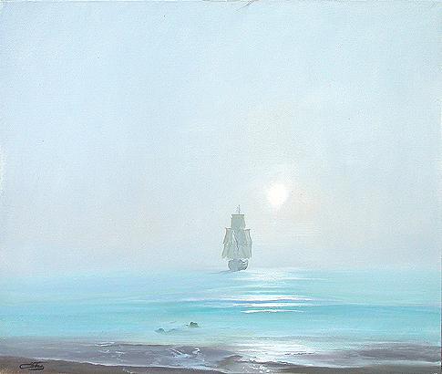 Туман морской пейзаж - масло живопись