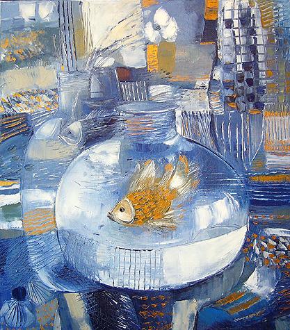 Goldfish still life - oil painting