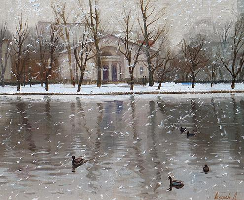 Chistye Ponds cityscape - oil painting