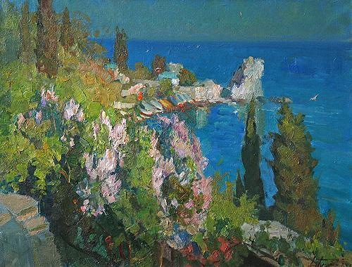 Gurzuf. Korovin's Summer House seascape - oil painting