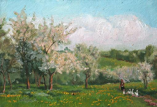 Gardens in Blossom summer landscape - oil painting