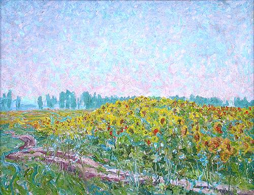 Sunflowers summer landscape - oil painting
