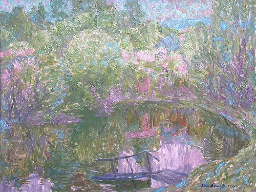 Nightingale Back Water spring landscape - oil painting