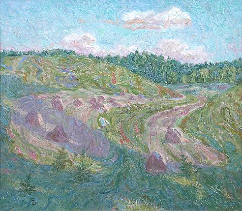 Haymaking summer landscape - oil painting