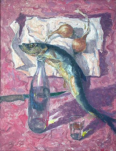 Still Life with Herring still life - oil painting