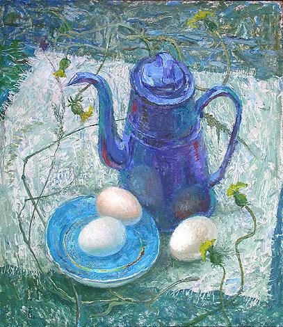 Натюрморт с чайником натюрморт - масло живопись