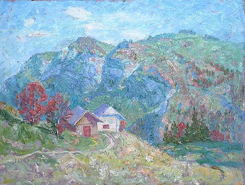 Франция. Альпы горный пейзаж - масло живопись