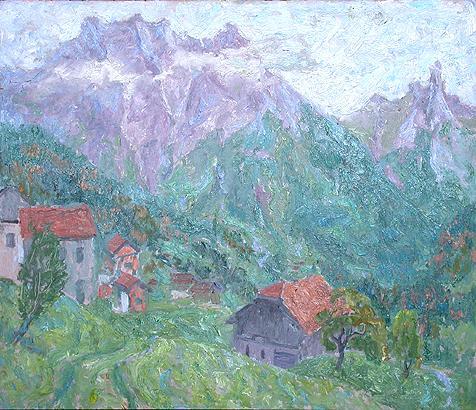 Франция горный пейзаж - масло живопись