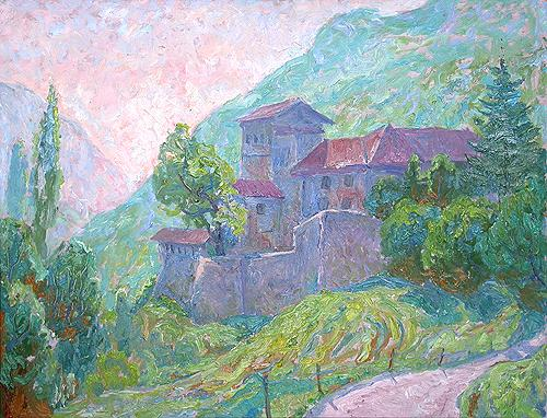 Castle in La Biol mountain landscape - oil painting