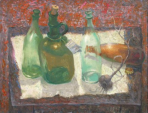 Bottles still life - oil painting