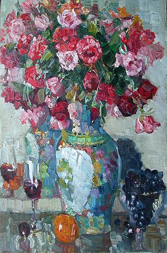 Roses and Grapes flower - oil painting