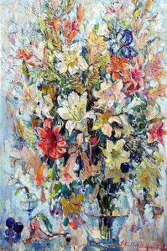Белый букет цветы - масло живопись