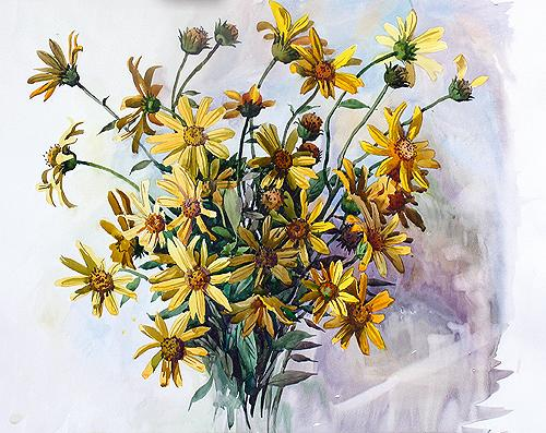 Yellow Flowers flower - watercolor painting