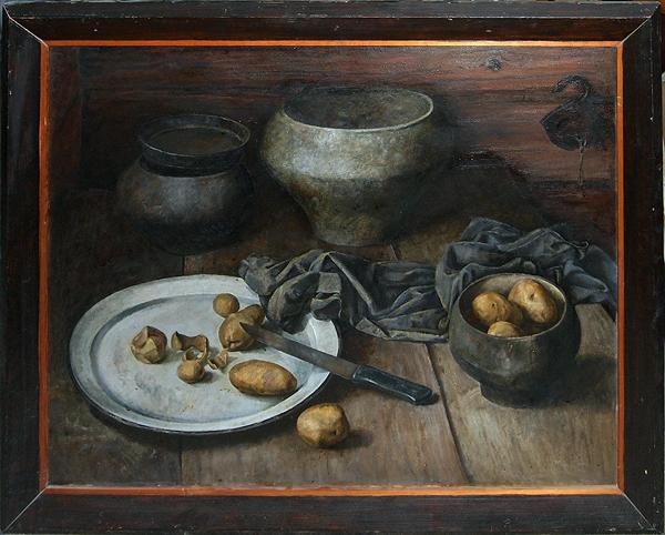 Cast Iron Pots still life - oil painting