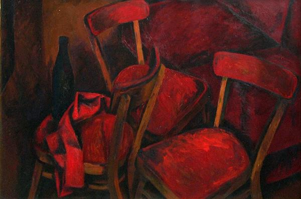 Red Chairs still life - oil painting