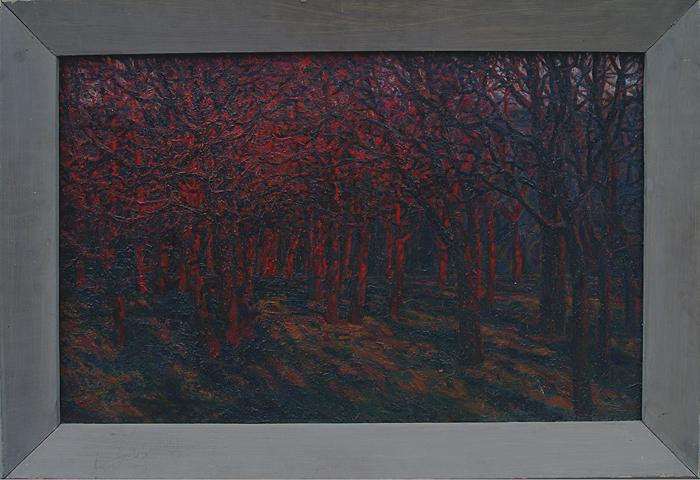 Last Beams autumn landscape - oil painting