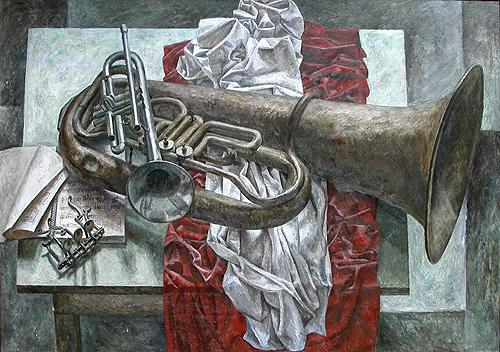 Battle Brass still life - oil painting
