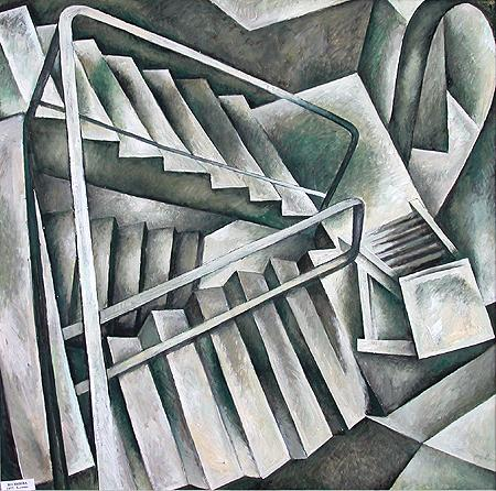 Stairs interiors - tempera painting