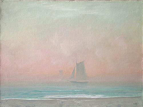 Foggy Morning seascape - oil painting