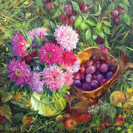 In the Garden. Under a Plum Tree still life - oil painting