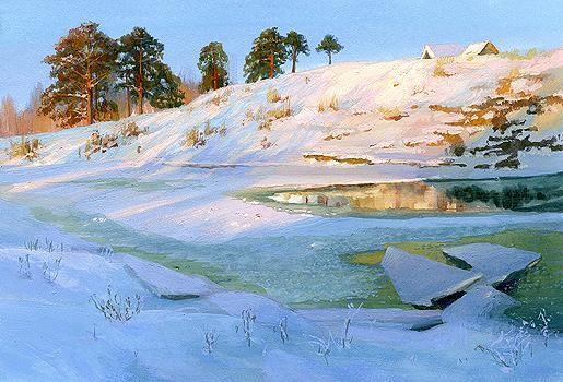 Evening at the Cherekha River winter landscape - gouache painting