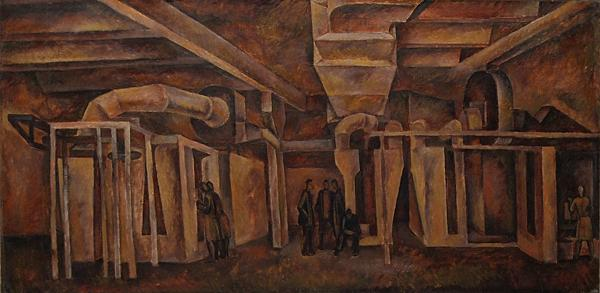 Transformer Section industrial landscape - oil painting