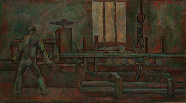 Распиловка болванок соцреализм - темпера живопись