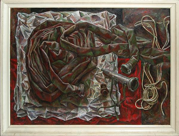 Fire Hose still life - oil painting