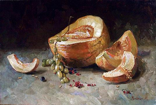 Melon and Currants still life - oil painting
