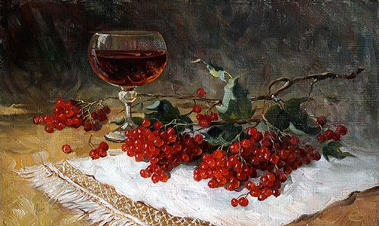 Berries still life - oil painting