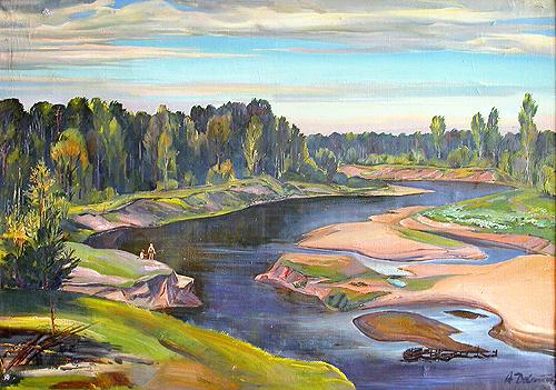 The Usta River summer landscape - oil painting