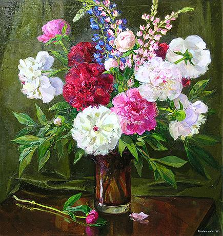 Peonies flower - oil painting