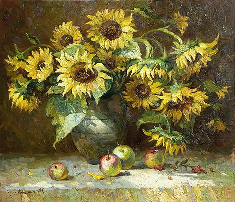 Sunflowers still life - oil painting