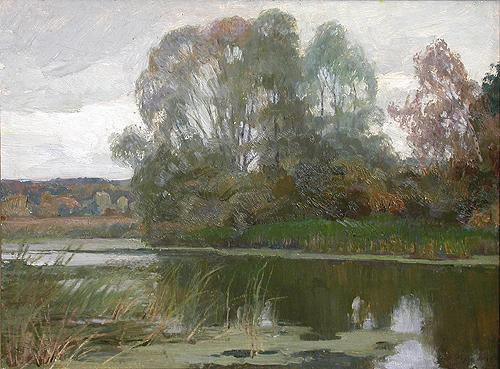 End of Summer summer landscape - oil painting