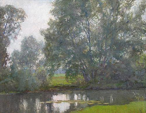 At the River summer landscape - oil painting