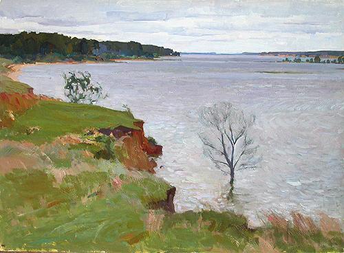 Precipice summer landscape - oil painting