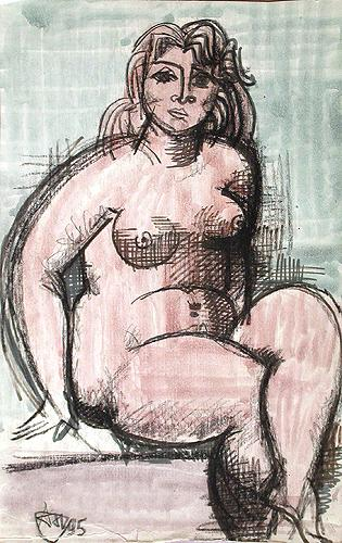 Model nude art - watercolor drawing