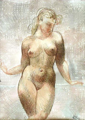 Nu nude art - watercolor drawing