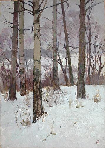 Зима в лесу зимний пейзаж - масло живопись