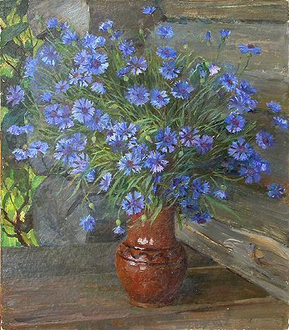Knapweeds flower - oil painting