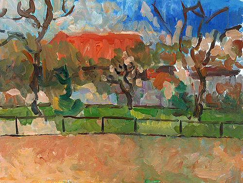 Park. London abstract landscape - oil painting