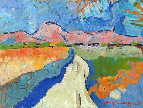 Landscape abstract landscape - oil painting