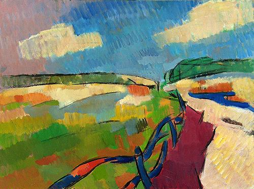 Landscape. Midday abstract landscape - oil painting