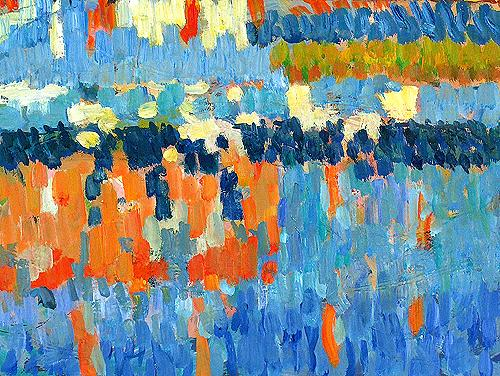 Landscape. Reflection abstract art - oil painting
