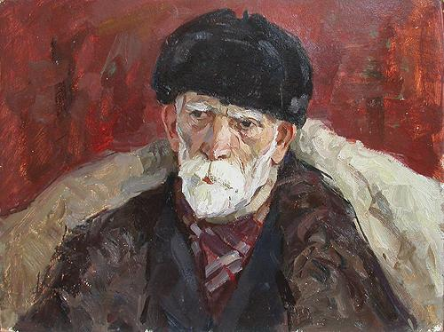 Portrait of Old Gipsy portrait or figure - oil painting