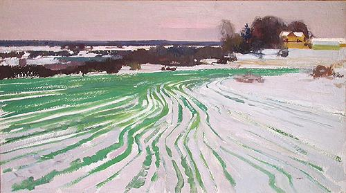 Winter Crops winter landscape - oil painting